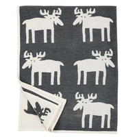 Moose Cotton Blanket dark grey