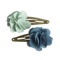 Fluffy Flower Clips aqua 2pcs